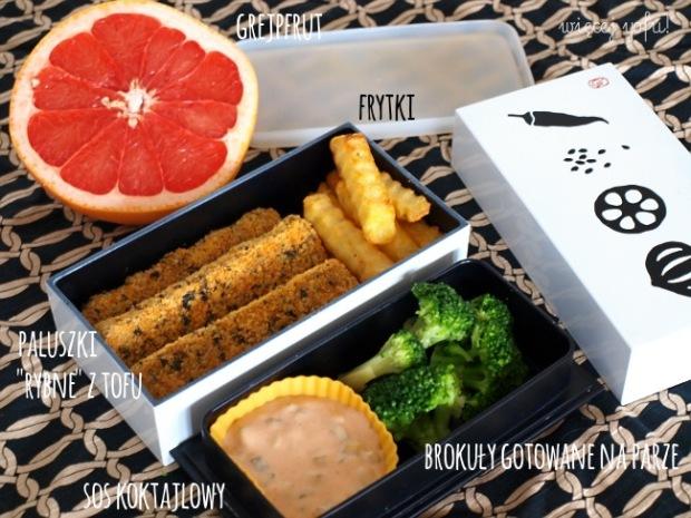 "Paluszki ""rybne"" z tofu z frytkami"